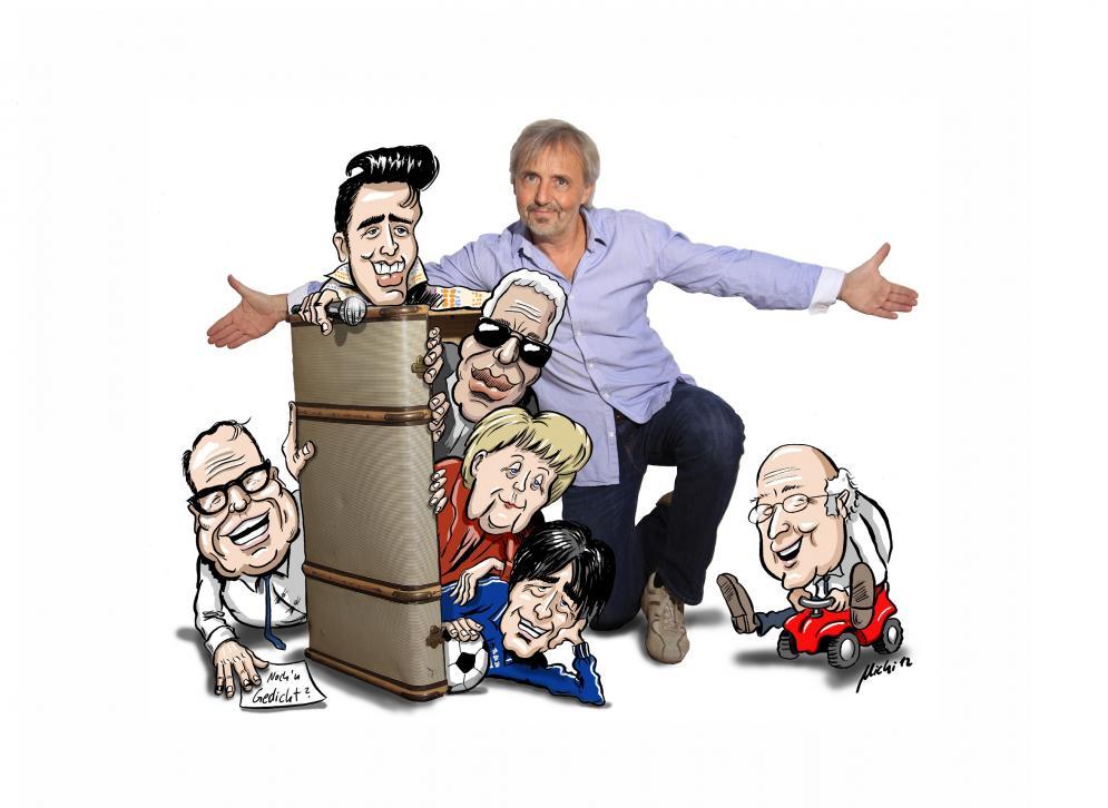 Bernd Schmitt mit einer Auswahl der vielen Prominenten, die er zu imitieren vermag